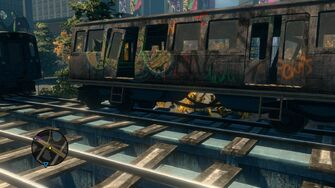 Close up of broken Train in Sunset Park in Saints Row The Third