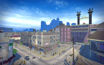 Rebadeaux in Saints Row 2 - aerial view