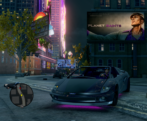 Pierce on Planet Saints billboard in Loren Square in Saints Row The Third