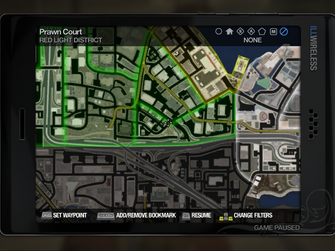 Cellphone map screen in Saints Row 2