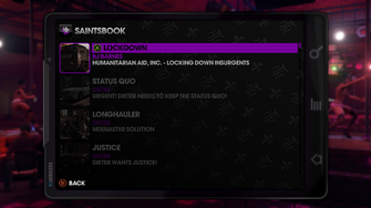 Vehicle Theft menu in Saints Row The Third
