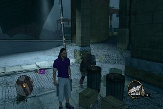 Bum digging through trash in Salander in Saints Row The Third