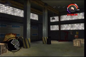 Donnie's garage in Saints Row - interior corner