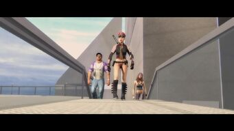 ... and a Better Life - The Protagonist, Pierce and Shaundi walking to the helipad