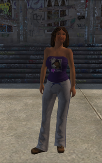 Generic young female 03 - Aisha's sister - white pants, blue tie, brown shoes - character model in Saints Row