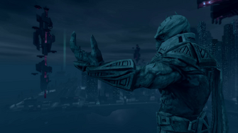 Saints Row IV Main Menu background - Zinyak statue and Tower