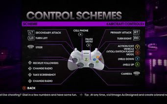 Saints Row The Third - Main Menu - Options - Controls - Gamepad - Control Schemes - Aircraft Controls