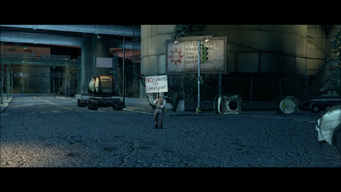 Air Steelport closing cutscene - scattered containers behind protester