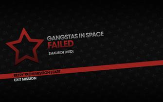Gangstas in Space fail screen