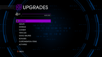 Upgrades menu in Saints Row IV