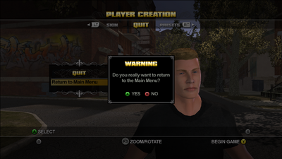 Return to Main Menu option during Player Creation in Saints Row