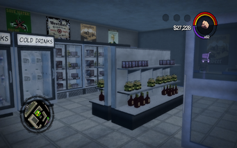 Quinbecca Gas Station interior in Saints Row 2