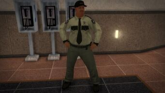 Security Guard - fat guard inside courthouse