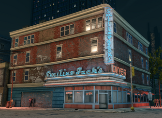 Smiling Jack's exterior at night in Saints Row The Third