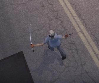 Dual Samurai Swords mid-attack