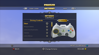 Saints Row Menu - Options - Controls - Driving Controls - Scheme B