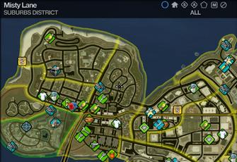 Map in Saints Row 2 - Suburbs - Misty Lane
