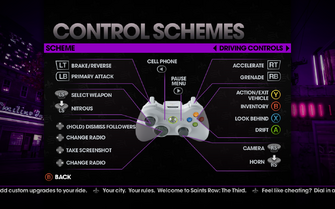 Saints Row The Third - Main Menu - Options - Controls - Gamepad - Control Schemes - Driving Controls II
