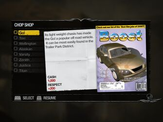 Go! - Downtown Chop Shop list in Saints Row 2