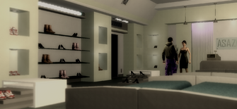 Luz in shoe store in Saints Row 2 Drug Trafficking cutscene