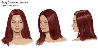 Jessica Concept Art 08 - Hair concept with long straight hair