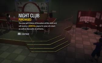 Crash Landing Night Club Huntersfield purchased in Saints Row 2