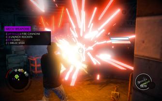 Saints Row IV - using Mech Suit's glitched miniguns