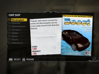 Mockingbird - Suburbs Chop Shop list in Saints Row 2
