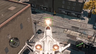 F-69 VTOL firing microwave laser in the Saints Row - The Third Open World Gameplay trailer