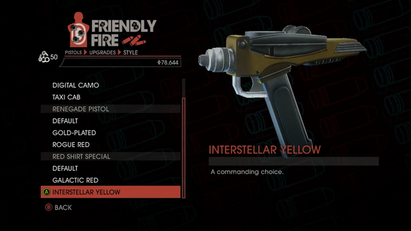 Weapon - Pistols - Quickshot Pistol - Red Shirt Special - Interstellar Yellow
