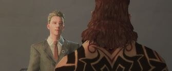 Dane Vogel talking to Maero in a cutscene