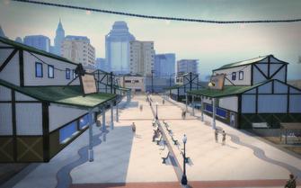 Stilwater Boardwalk - looking south at shops on pier