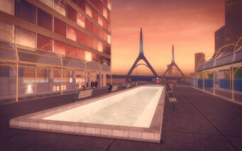 Adept Way in Saints Row 2 - walkway with fountain