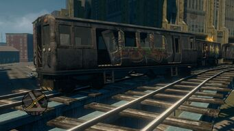 Close up of broken Train in Loren Square in Saints Row The Third