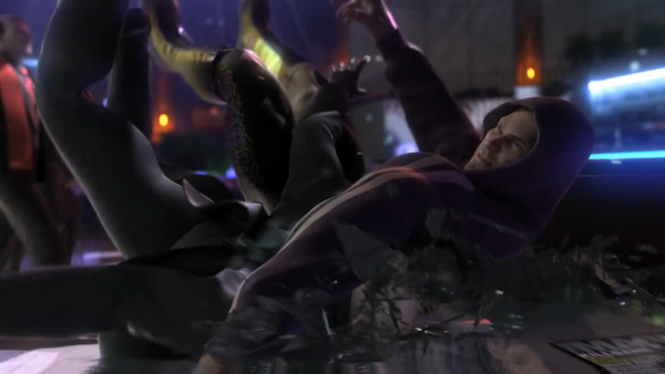 Angel slamming Morningstar member into glass table in the Saints Row The Third Power CG trailer