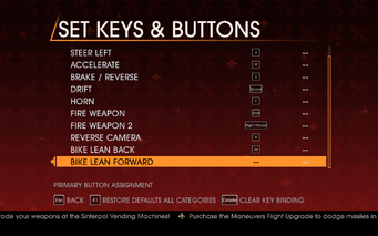Saints Row Gat out of Hell - Main Menu - Options - Controls - Set Keys & Buttons - Car & Bike II
