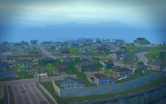 Misty Lane in Saints Row 2 - aerial view