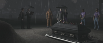 Rest in Peace - crowd gathered around Aisha's coffin
