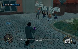 Saints HQ - protestors outside