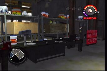Donnie's garage in Saints Row - interior store room