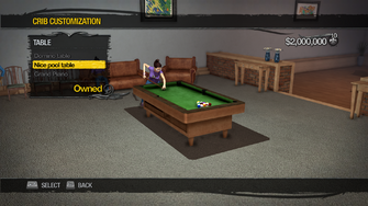 Penthouse Loft - Crib Customization - Table - Nice pool table