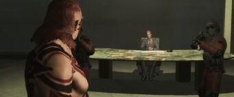 Dane Vogel threatening Maero in the Fool Me Once... cutscene
