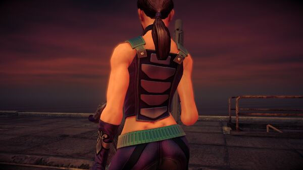 Shaundi in Saints Row IV showing lower back tattoo removed