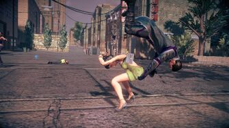 Combat in Saints Row IV - Super powerbomb - start