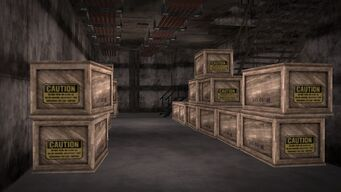 Cargo ship - boxes near the stairs