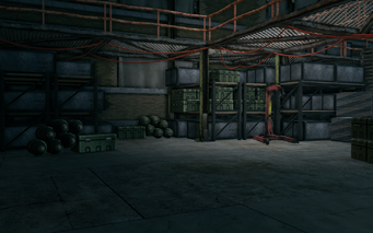 Guard Armory interior with bombs boxes and cables in Saints Row The Third