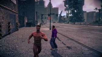 Naked Male Playa running towards the camera in Saints Row IV