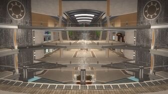 Rounds Square Shopping Center interior multilevel view from top
