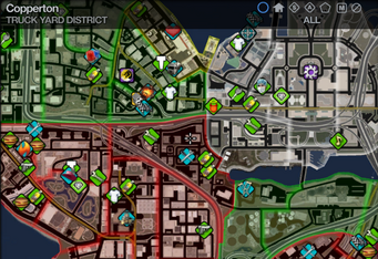 Map in Saints Row 2 - Truck Yard - Copperton