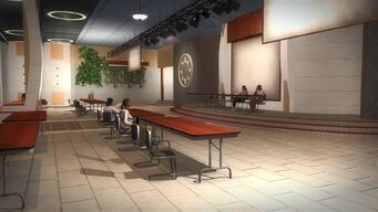Rounds Square Shopping Center bottom floor conference room with temporary tables
